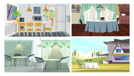Dinner places illustration set. Cafe tables, studio with dining table, traditional dining room, table on grass near residential house. Dining concept