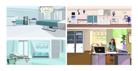 Modern hospital interior vector illustration set. Operating or surgery, ultrasound monitoring, hospital room with bed, doctor office. Medicine concept Illusztráció