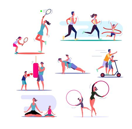 Set of families exercising. Parents and children doing different sports together. Healthy family concept. Vector illustration can be used for presentation, project, webpage Ilustracja
