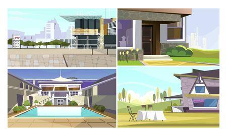 Modern apartments vector illustration set. Smart house, trendy facade, patio, swimming pool. Architecture or real estate concept Illusztráció
