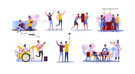 Male friends spending time together set. Two guys playing video game, guitar, boxing, drinking in bar. Flat vector illustrations. Friendship concept for banner, website design or landing web page Illusztráció