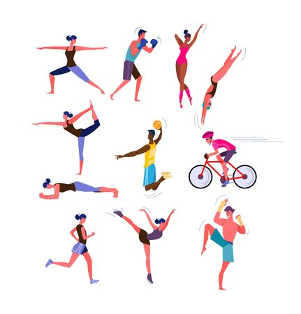 Set of men and women doing sports. Group of people doing different sports. Sport concept. Vector illustration can be used for presentation, project, webpage Illusztráció