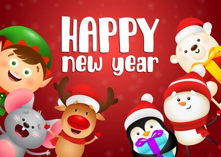 Happy New Year lettering, mouse, reindeer, snowman, penguin. New Year Day greeting card. Typed text, calligraphy. For leaflets, brochures, invitations, posters or banners.