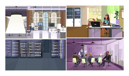Digital equipment vector illustration set. Modern office with computers, call center operator at laptop, business presentation on interactive board, server room. Information technology concept