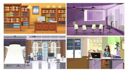 Modern office interior illustration set. Traditional library hall, conference room with interactive board, co-working space, employee at workplace with computer. Interior concept Çizim
