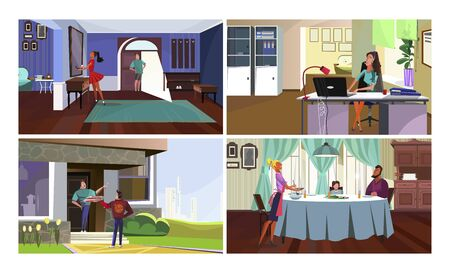 Human communication vector illustration set. Family having dinner, couple talking at home, call center operator working at computer. People concept