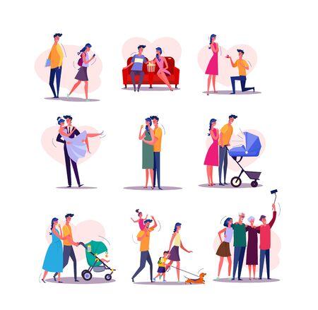 Conjunto de ciclo de vida familiar. Hombre y mujer que data, pareja que se casa, que tiene un bebé, que camina con los niños, que envejece. Concepto de personas. Carteles de ilustración vectorial, diapositivas de presentación, diseño web Ilustración de vector