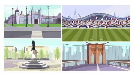 Landmarks vector illustration set. Palace, stadium with football match, monument, bridge. Travel concept