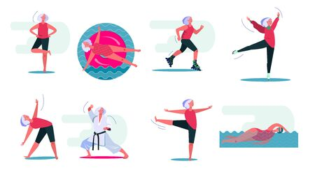 Fitness activities set. Woman swimming in pool, doing yoga, roller skating. People concept. Vector illustration for topics like leisure, movement, active lifestyle Archivio Fotografico - 133771228