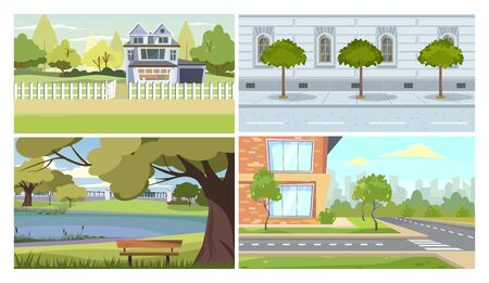 City and suburb illustration set. Country residential house, suburb apartment building, old traditional facade, park, street. Real estate concept
