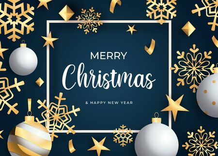 Merry Christmas lettering, golden snowflakes and balls. Christmas greeting card. Handwritten and typed text, calligraphy. For leaflets, brochures, invitations, posters or banners. 向量圖像