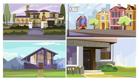 Traditional and modern buildings vector illustration set. Mansion facade, old city street with tram, apartment house. Architecture concept Illusztráció