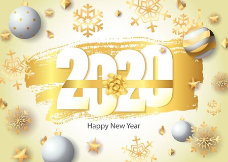 Happy New Year, 2020 lettering, golden snowflakes and balls. New Year Day greeting card. Handwritten text, calligraphy. For leaflets, brochures, invitations, posters or banners. 向量圖像