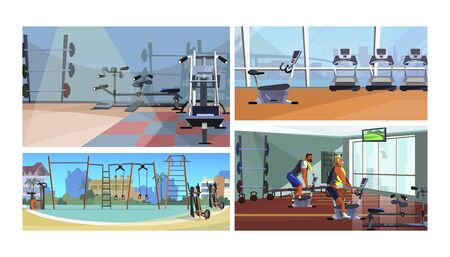 Gym vector illustration set. Fitness equipment inside and outside, male athletes training on bike machine, gym interiors, outdoor sport ground. Fitness concept