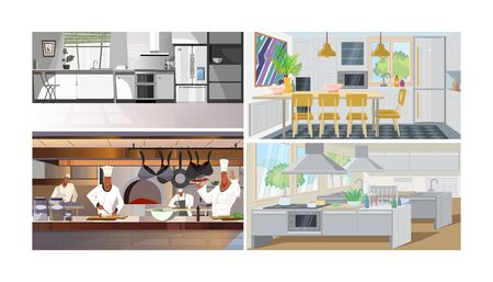 Kitchens vector illustration set. Modern home kitchen, studio with dining table, chief cooking in restaurant, big commercial kitchen of cafe, diner, canteen. Interiors concept