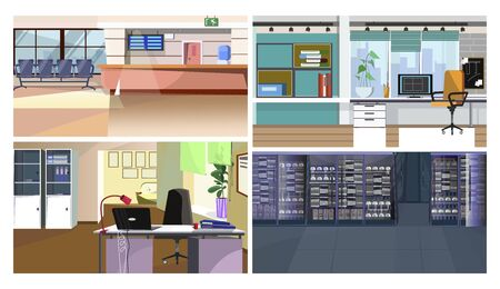 Commercial interiors illustration set. Airport check-in desk, urban office workplaces, communication room with server hardware. Interior concept