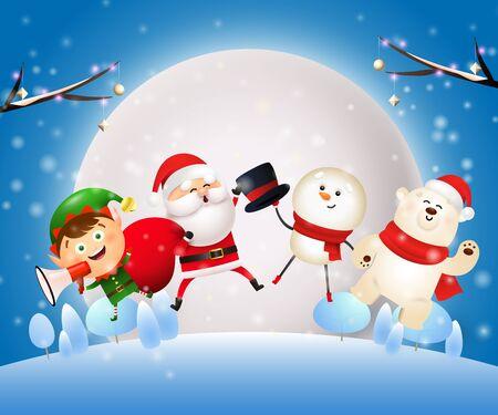 Banner de noche de Navidad con animales, Santa sobre fondo azul. El diseño decorativo se puede utilizar para invitaciones, postales, anuncios. Ilustración de vector