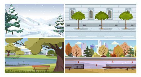 Weather and season vector illustration set. Winter mountain landscape, traditional city building facade with rain, summer park, autumn stadium. Seasons concept Illusztráció