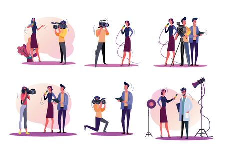 Reporters illustration set. Journalists and cameraman filming news, holding microphone, using camera. Television concept. Vector illustration for banners, posters, website design Illustration