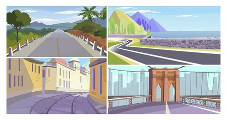 Roads vector illustration set. Country road, highway along seaside, narrow old city alley, city bridge. Travel or way concept