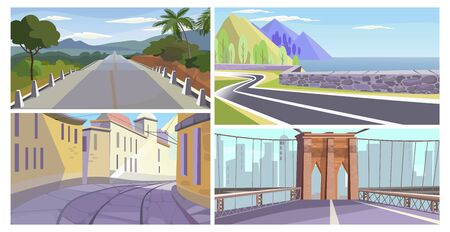Travel and landmark places illustration set. Country highway, seaside road, old city narrow street, city bridge with gate. Tourism concept