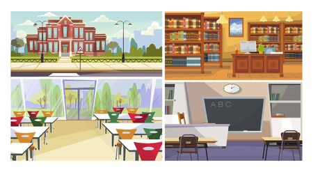 School spaces vector illustration set. Canteen, library, classroom interior with desks and blackboard, building facade. Education concept