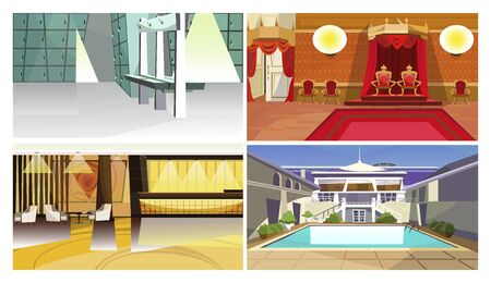 Hotel spaces vector illustration set. Luggage room, traditional and modern lounge, patio with swimming pool. Hotel service concept