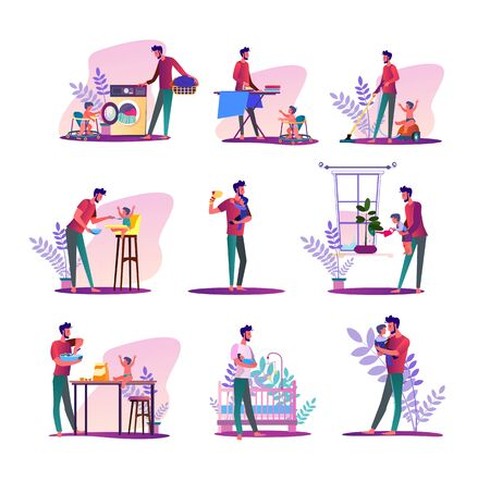House husband set. Man doing laundry, ironing, feeding baby. Flat vector illustrations. Parental leave, father at home concept for banner, website design or landing web page