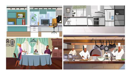Workplaces vector illustration set. Computer on desk in office, home and restaurant kitchens, family having dinner in dining room. Interiors concept