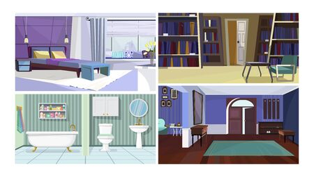 Traditional home interior vector illustration set. Stylish modern bedroom, dark hallway with open front door, bathroom, library. Interior concept