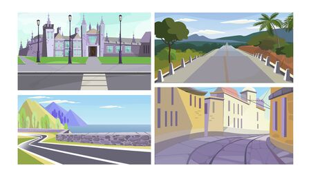 Streets and roads vector illustration set. Mansion facade with grass and pavement, country road, highway along seaside, narrow old city alley. Travel or way concept 向量圖像