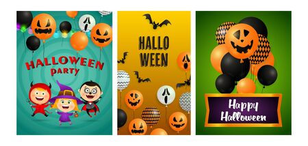 Halloween party banner set with devil, witch, vampire. Bat, pumpkin, pot. Lettering can be used for greeting cards, invitations, announcements Stock fotó - 134325572