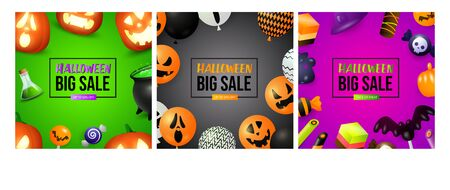 Halloween big sale green, black, purple banner set. Bat, pumpkin, pot. Lettering can be used for greeting cards, invitations, announcements Stock fotó - 134325578