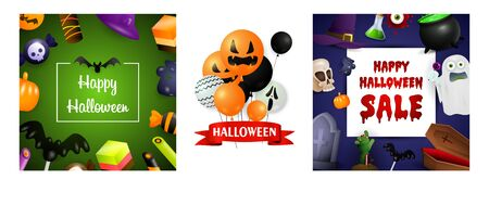 Halloween sale green, violet banner set with creepy balloons. Bat, pumpkin, pot. Lettering can be used for greeting cards, invitations, announcements Stock fotó - 134325579
