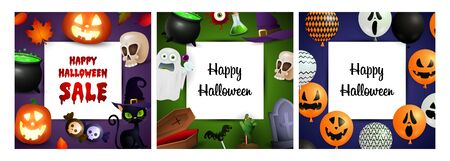 Happy Halloween violet, orange, blue banner set with skulls. Bat, pumpkin, pot. Lettering can be used for greeting cards, invitations, announcements Stock fotó - 134325589