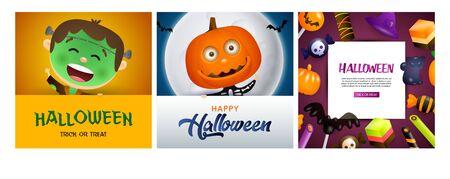 Halloween orange, violet banner set with pumpkin, Frankenstein. Bat, pumpkin, pot. Lettering can be used for greeting cards, invitations, announcements Stock fotó - 134325694