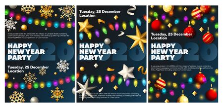 Happy New Year party blue banner set with baubles. New Year, Christmas, winter. Calligraphy with decorative design can be used for invitations, post cards, announcements