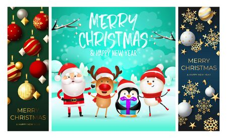 Merry Christmas green, cyan, blue banner set with animals. New Year, Christmas, winter. Calligraphy with decorative design can be used for invitations, post cards, announcements