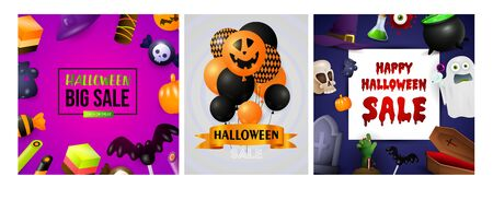 Happy Halloween pink, blue banner set with creepy balloons. Bat, pumpkin, pot. Lettering can be used for greeting cards, invitations, announcements Stock fotó - 134326089