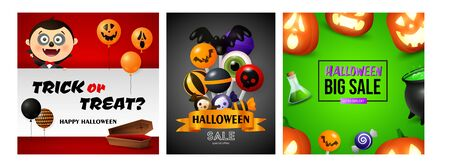 Halloween big sale banner set with vampire and coffin. Bat, pumpkin, pot. Lettering can be used for greeting cards, invitations, announcements Stock fotó - 134326090