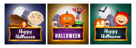 Halloween banner set with mummy, pumpkin, devil. Bat, pumpkin, pot. Lettering can be used for greeting cards, invitations, announcements Stock fotó - 134326095