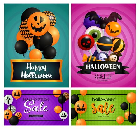 Halloween sale blue, pink banner set with balloons, candies. Halloween, October, trick or treat. Lettering can be used for greeting cards, invitations, announcements