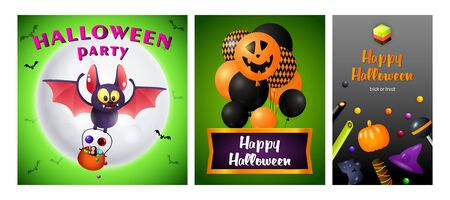 Happy Halloween green, gray banner collection with bat. Bat, pumpkin, pot. Lettering can be used for greeting cards, invitations, announcements Stock fotó - 134326441