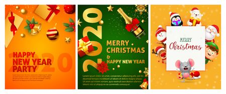 Happy New Year orange, green banner set with champagne. New Year, Christmas, winter. Calligraphy with decorative design can be used for invitations, post cards, announcements