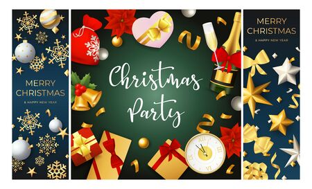 Christmas party blue, green banner set with champagne. New Year, Christmas, winter. Calligraphy with decorative design can be used for invitations, post cards, announcements