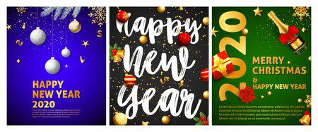 Happy New Year blue, black, green banner set with balls. New Year, Christmas, winter. Calligraphy with decorative design can be used for invitations, post cards, announcements Illustration
