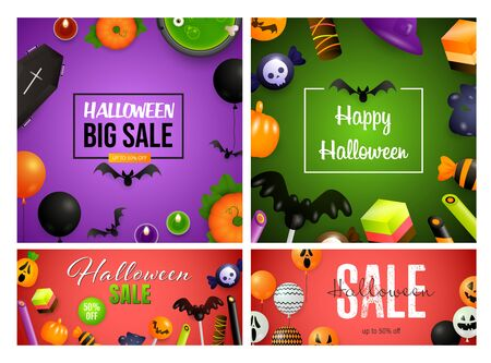 Halloween sale coral, green banner set with candies, coffin. Halloween, October, trick or treat. Lettering can be used for greeting cards, invitations, announcements
