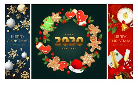 Merry Christmas blue, green, red banner set with wreath. New Year, Christmas, winter. Calligraphy with decorative design can be used for invitations, post cards, announcements