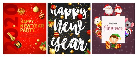 Happy New Year party red, grey banner set with Santa. New Year, Christmas, winter. Calligraphy with decorative design can be used for invitations, post cards, announcements