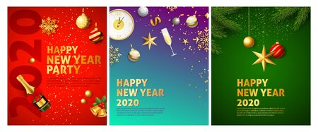 Happy New Year red, blue, green blue banner set with champagne. New Year, Christmas, winter. Calligraphy with decorative design can be used for invitations, post cards, announcements Illustration